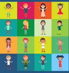 active children isolated on colorful backgrounds vector image vector image