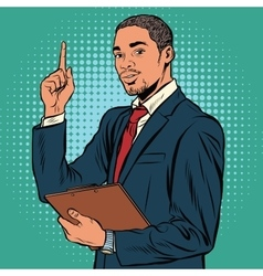 African business man indicating an important vector image vector image