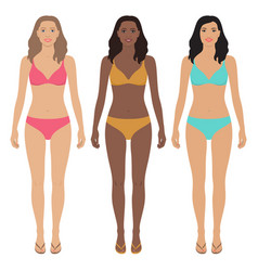 Asian african american and european women vector