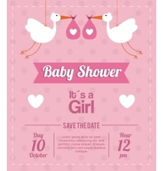 Baby shower design stork icon pink vector
