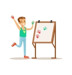 Boy painting with hands creative child practicing vector