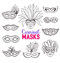 carnival masks collection vector image