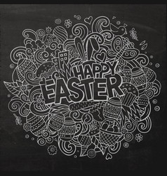 Cartoon hand drawn doodle happy easter vector