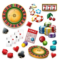 Casino symbols set composition poster vector