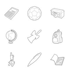 Children education icons set outline style vector