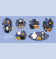 collection of halloween scenes with cute and funny vector image