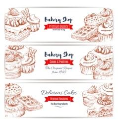 Desserts sketch bakery shop banners set vector