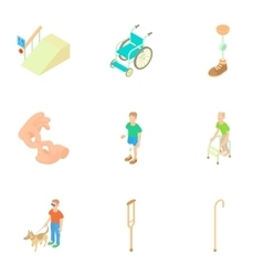 Disabled people icons set cartoon style vector