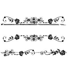dividers with roses vector image vector image