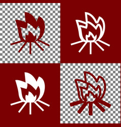 Fire sign bordo and white icons and line vector