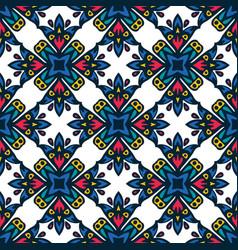 Folk ceramic tiles design floral vector