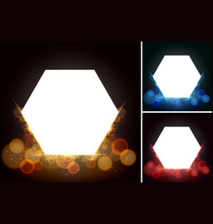 hexagon frames with bright light in background vector image