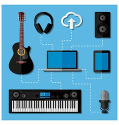 Home music studio concept vector
