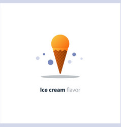 Ice cream cone orange glazing tasty flavor cool vector