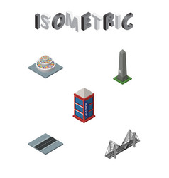 Isometric city set of phone box dc memorial vector