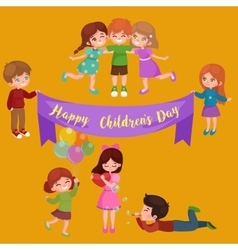 Kids playing greeting card vector
