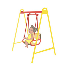 little girl on swing isolated vector image