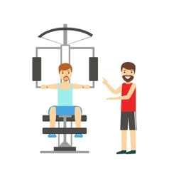 Man doing arms exercise with help of personal vector