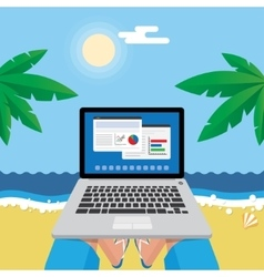 Man on the beach with laptop vector