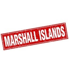 Marshall islands red square grunge vintage vector