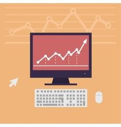 monitor workstation desk vector image