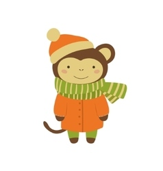 Monkey In Orange Warm Coat Childish vector image