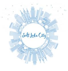 Outline salt lake city skyline with blue vector