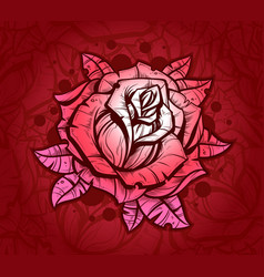Pink graphic realistic detailed rose vector