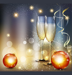 romantic christmas background with two glasses and vector image vector image