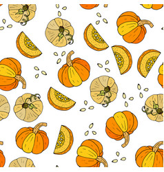 seamless autumn pattern with pumpkins vector image