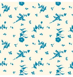 seamless silhouette flower blue vector image