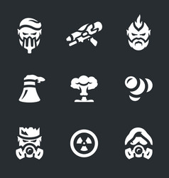 set of post-apocalypse icons vector image vector image