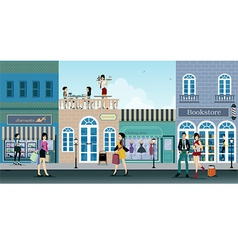 Shopping street vector image