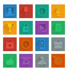 Square media icons set 4 vector