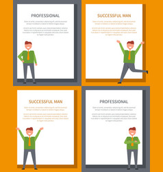 successful men dressed in green shirt with tie set vector image vector image