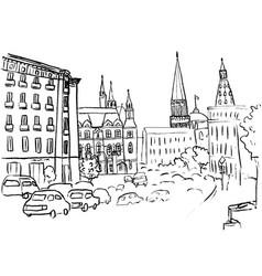 tverskaya street in moscow vector image vector image