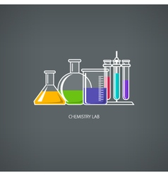 Beakers and test-tube vector