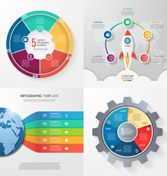 Set of 4 infographic templates with 5 processes vector