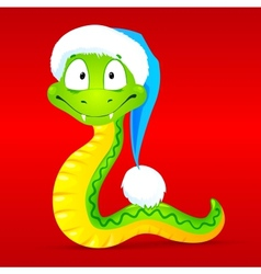 Green snake in red santas hat vector