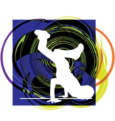 Breakdancer dancing on hand stand vector