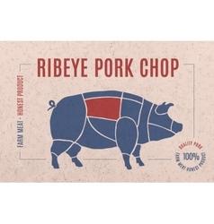 Label for pork steak meat cut vector