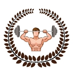 Arch of leaves with muscle man lifting a disc vector