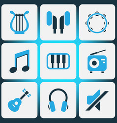 Audio colored icons set collection of note piano vector