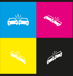 crashed cars sign  white icon with vector image
