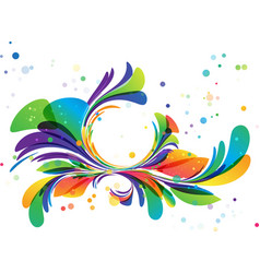 Colorful floral ornament circle frame on white vector