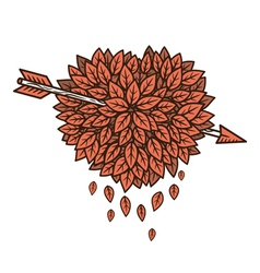 Heart of leaves with arrow vector