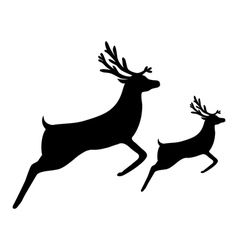 Silhouette of a reindeer with a cub vector