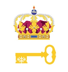 Crown and key vector image