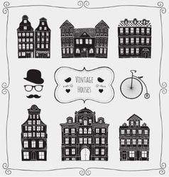 Vintage old styled houses black shapes vector