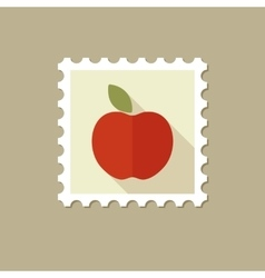 Apple flat stamp with long shadow vector